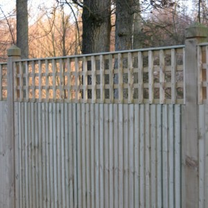 Tate Square Hole Bay Top Trellis installed on Closeboard fencing