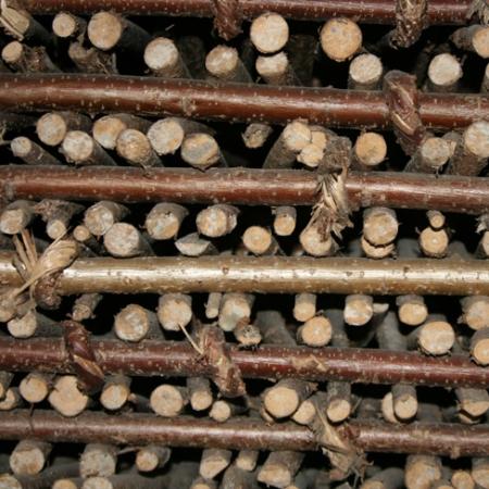 Full Hazel Hurdle close up view of hazel components