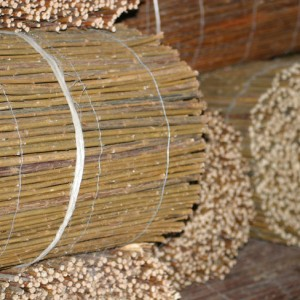 Close up of Willow Matting rolls