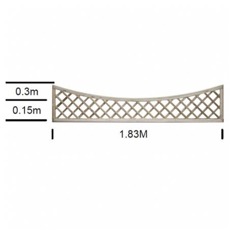 English Rose bay top scalloped top trellis 0.3m high at shoulder