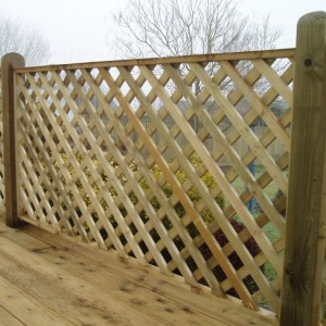 TATE Heavy Diamond Trellis panels installed on decking