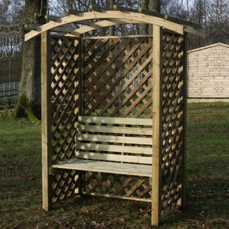 Sussex Arbour Seat in garden setting