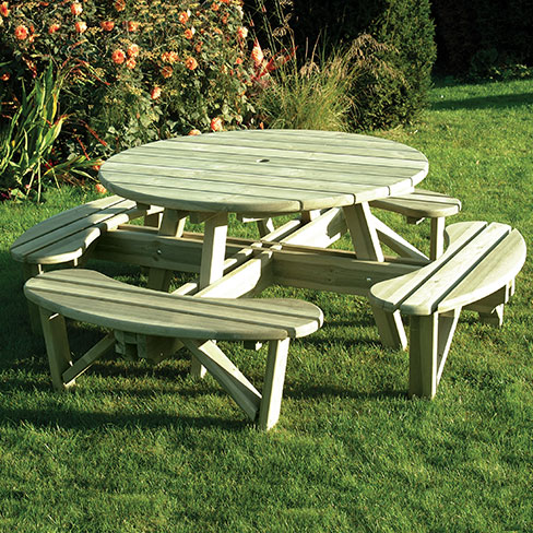 Round Picnic Table Gt Garden Furniture Tate Fencing