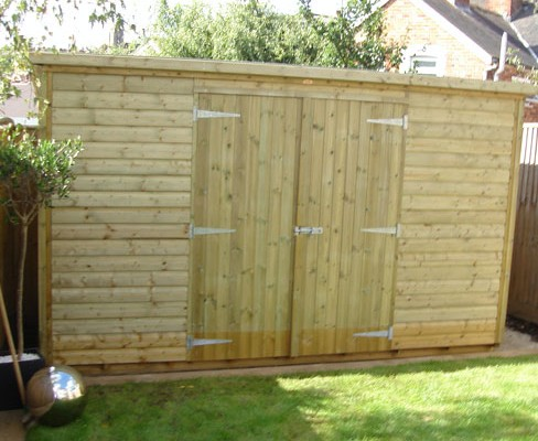 Pent shiplap shed with double doors for storage