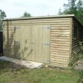 Pent weatherboard shed - ideal for storage with double door detail