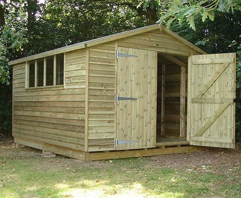 Gable Weatherboard Shed example, installed