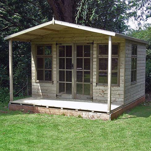 installed tate chalet summerhouse in garden with veranda - Garden Sheds With Veranda