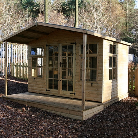 TATE Chalet Summerhouse with veranda, installed in customer's garden