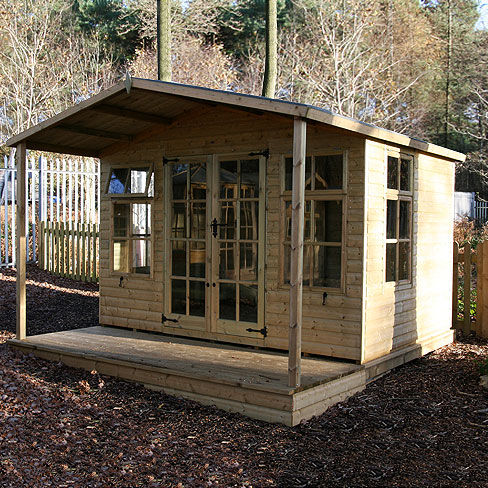 tate chalet summerhouse with veranda installed in customers garden
