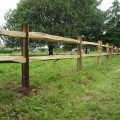 Cleft Chestnut Post and 2 rail installed - as field fencing