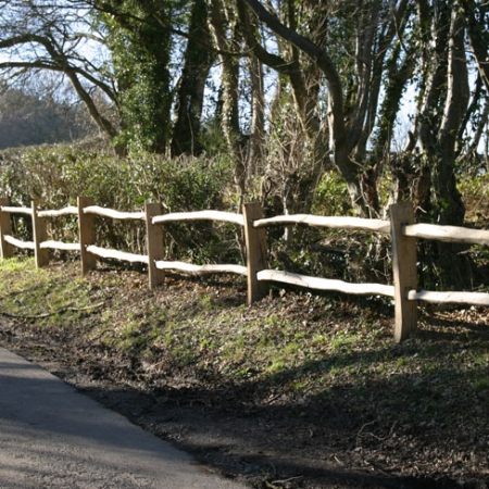Installed Cleft Chestnut Post and 2 rail - road side