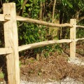 Softwood Post and 2 cleft chestnut rail close up