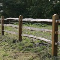 Installed chestnut rails on softwood posts - close up bay detail