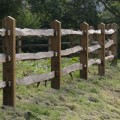 Installed chestnut rails on softwood posts - fence run