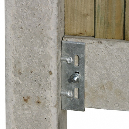 Closeboard on concrete posts and concrete gravel boards, with 2 pin cleat