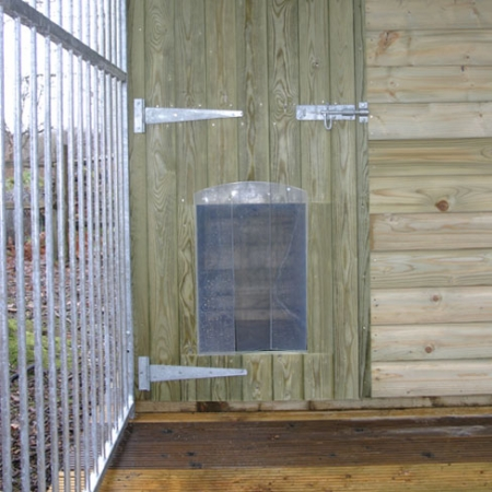 Dog Run and Kennel combination door finish details