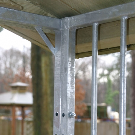 Close detail of how the dog run galvanised bar cage fits together