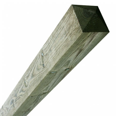 sawn timber fence post 125 x 125mm comes with a four way pointed top at this length