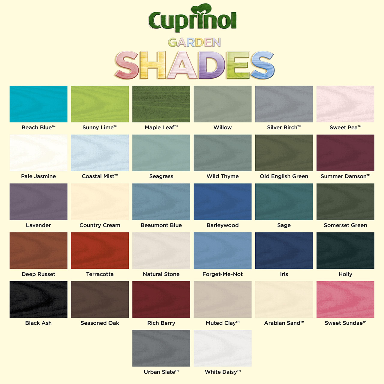 Cuprinol timbercare garden shades fixings tools tate fencing - Exterior wood paint colours uk concept ...