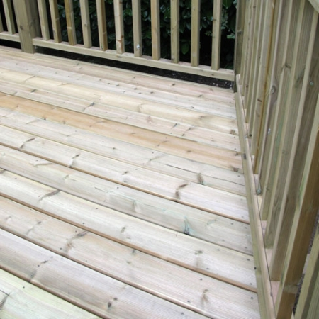 An example of our handrail and grooved and reeded decking installation