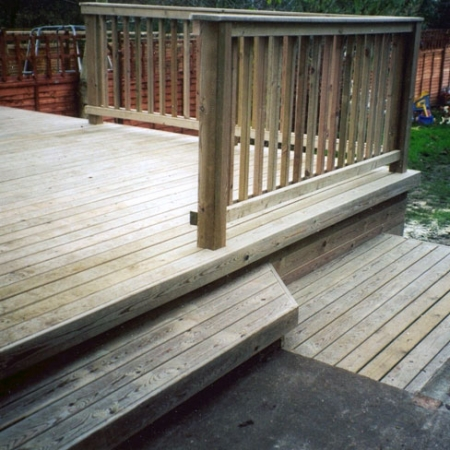 32 x 100mm Bevelled decking used for a decking install and decking steps.