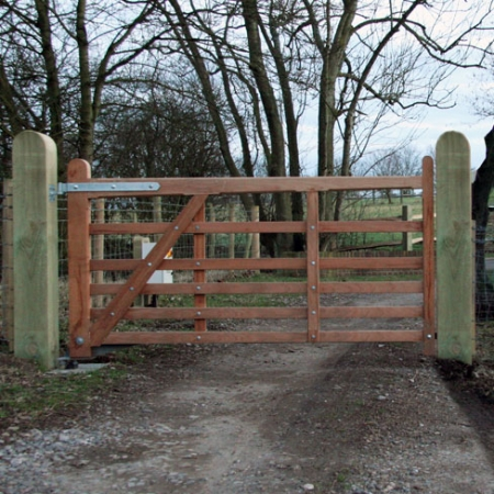 Iroko hardwood Sussex style field or entrance gate