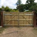 The rear view of a pair of Wimborne gates in softwood