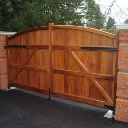 The view of the back of a pair of hardwood sherborne gates