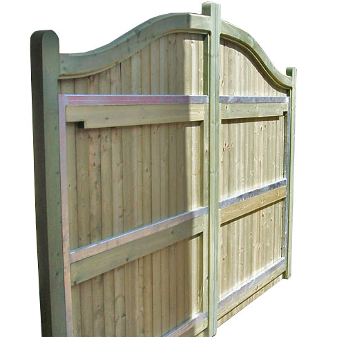 the rear view showing a swish top pair of richmond gates these are single clad - Metal Gate Frame