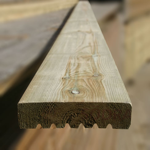 Softwood smooth and grooved decking boards decking boards for Tanalised decking boards