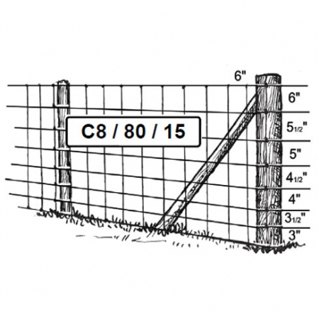 C8/8/80 mild steel stock fencing 800mm high