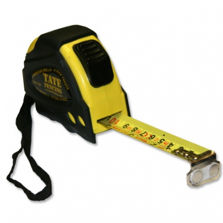 TATE Fencing 5m tape measure, the tape will stay out, until the return button is pressed