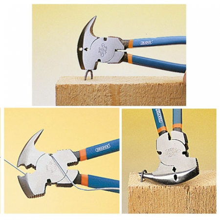 Draper Expert fencing pliers include striking face, staple removing hook and wire cutters