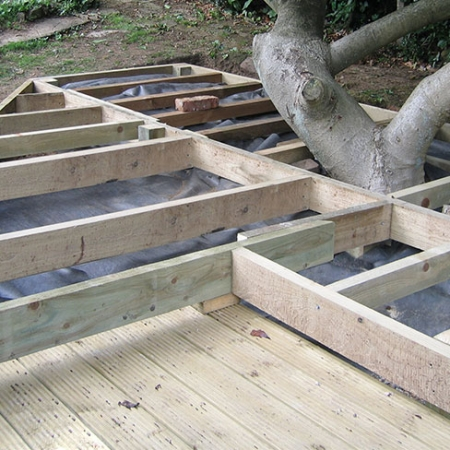 Decking framework decking kits decking steps for Garden decking examples