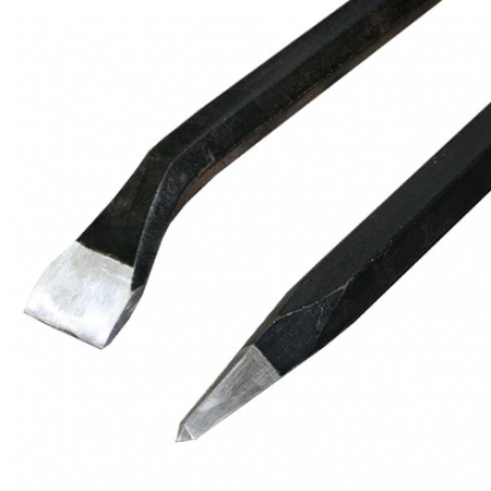 Roughneck bent chisel and pointed tip for breaking stone and concrete.