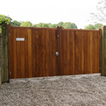 A pair of hardwood Wimborne gates installed on site