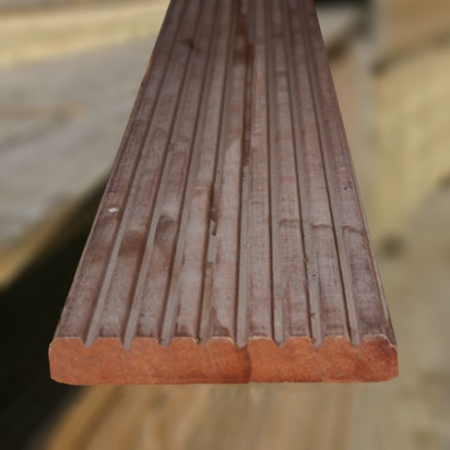 The grooved side of 25 x 145mm Balau hardwood decking boards smooth and grooved