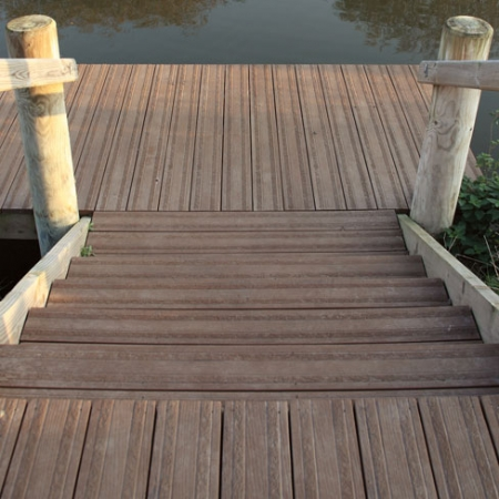 Steps constructed using Last Grip decking boards in Coppered Oak