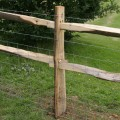 Chestnut post with mortise holes for 2 rail post and rail fencing