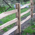 Chestnut post with mortise holes for 3 rail post and rail fencing