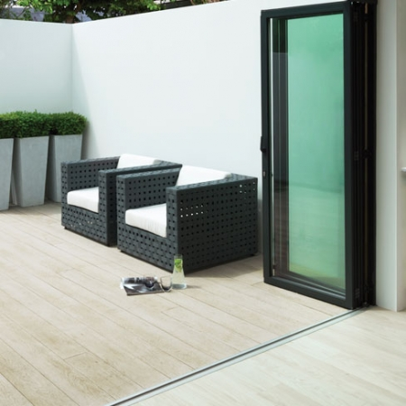 Enhanced Grain in Lime Oak - a subtle decking board suitable for most outside spaces
