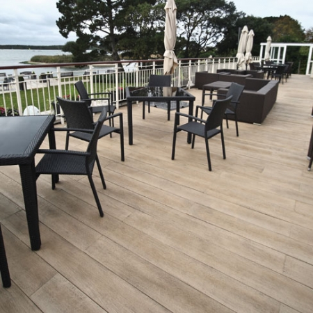 Café sea view balcony using composite decking.