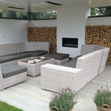 outdoor living space with enhanced grain composite decking