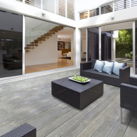 Enhanced grain composite decking to create a contemporary out door space.