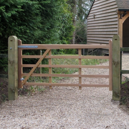 Iroko hardwood Kent style field or entrance gate