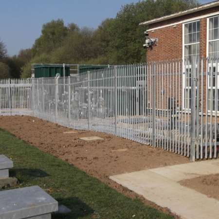 steel palisade security fencing installed around an industrial unit