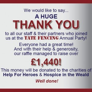 Tate Fencing raises £1,440!