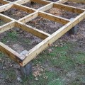 Concrete decking support post used to construct a shed base.