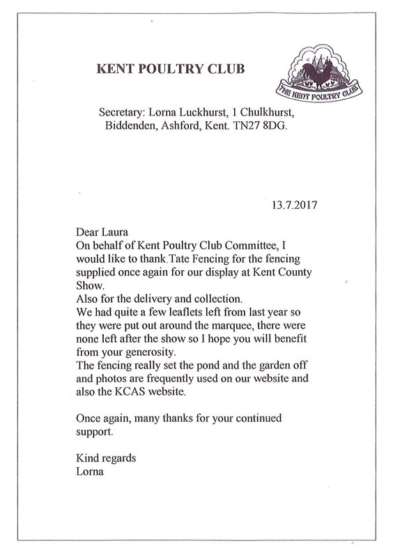 letter from Kent Poultry
