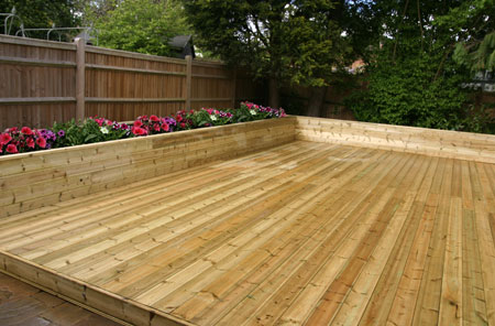 Installed decking for a customer